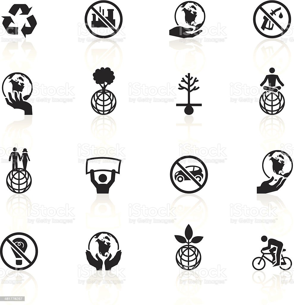 Black Symbols Earth Day Stock Vector Art More Images Of Anti