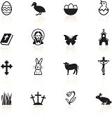 Simple black icons representing different Easter related symbols.