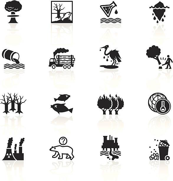 黒色記号-環境の損傷 - 環境問題点のイラスト素材/クリップアート素材/マンガ素材/アイコン素材