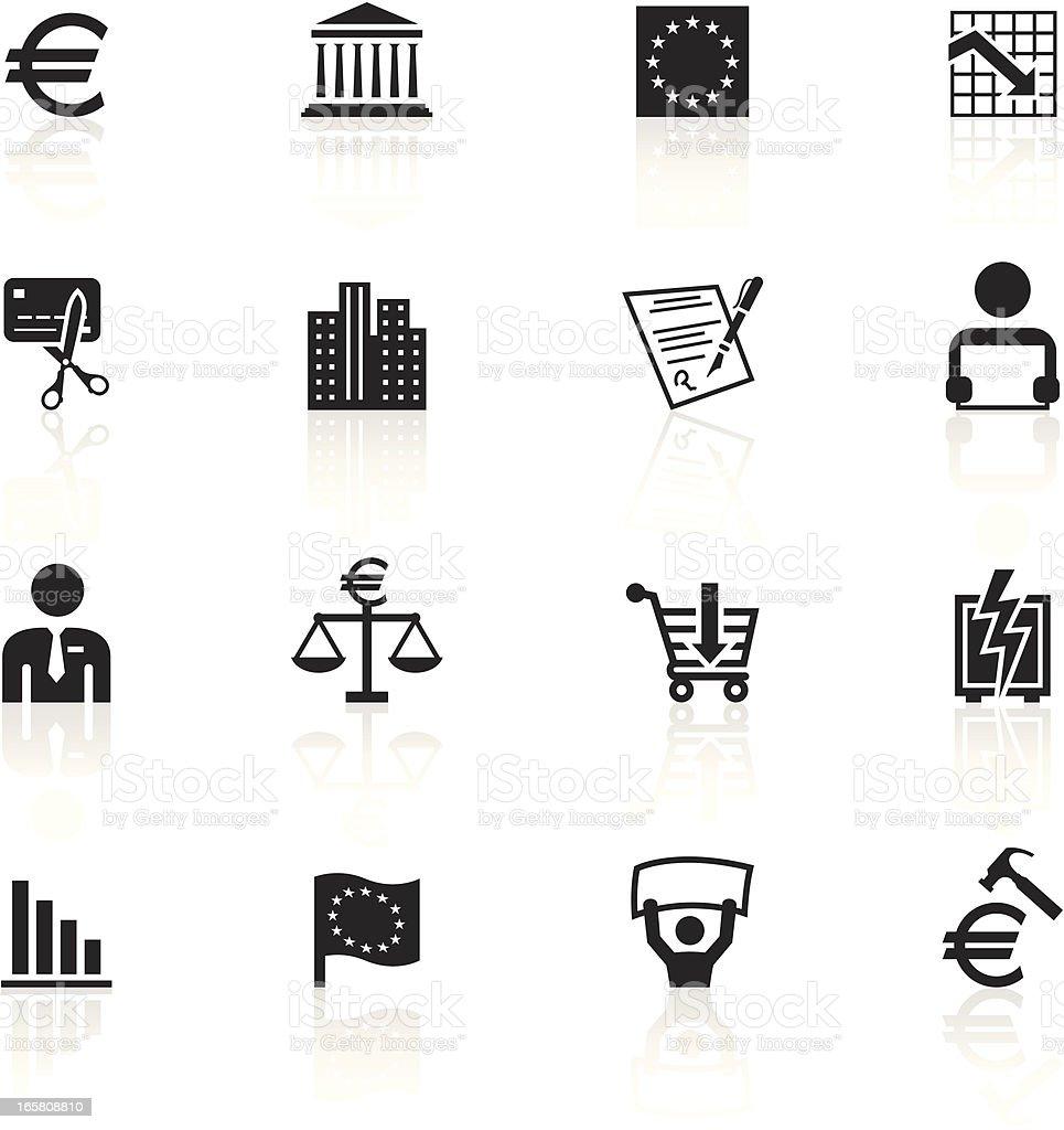 Noir symboles-récession de l'Union européenne - Illustration vectorielle
