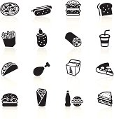A collection of different fast food related symbols.