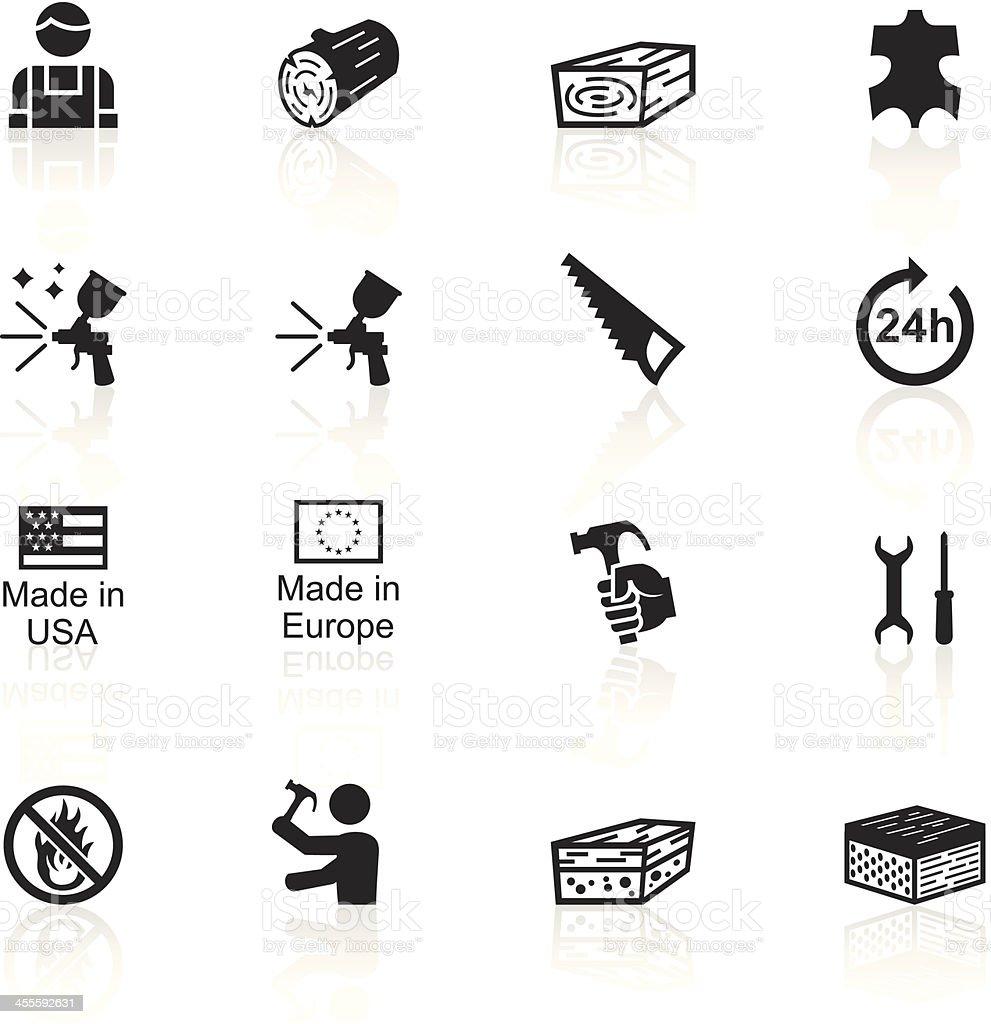 Black Symbols - Furniture Fabrication vector art illustration