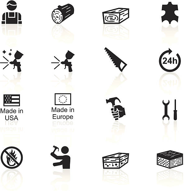 schwarze symbole-möbel-material - lederverarbeitung stock-grafiken, -clipart, -cartoons und -symbole