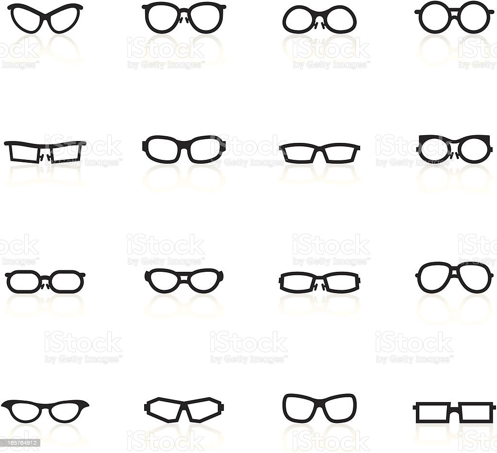 Black Symbols - Glasses vector art illustration