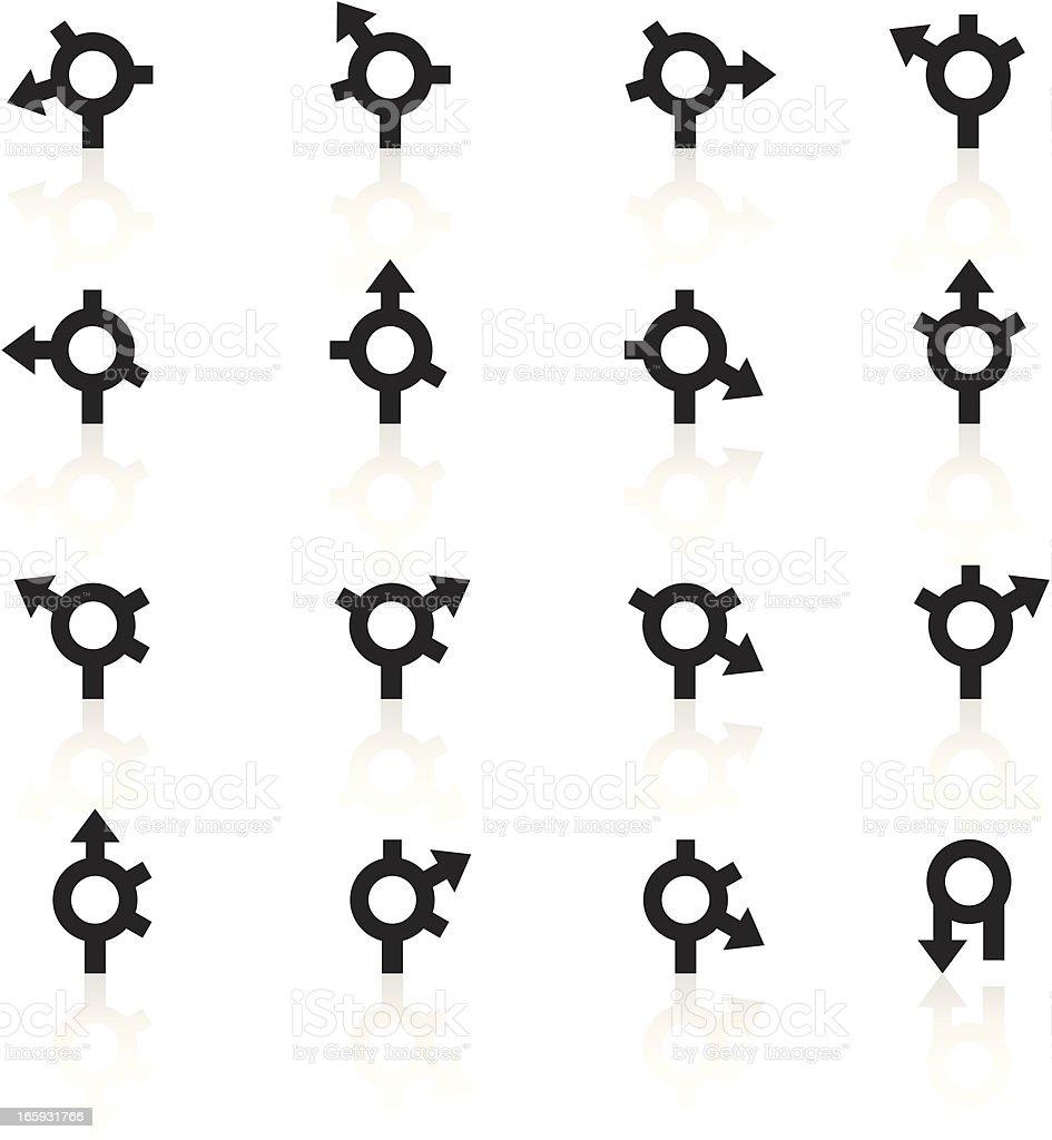 black symbols gps roundabout arrows stock vector art
