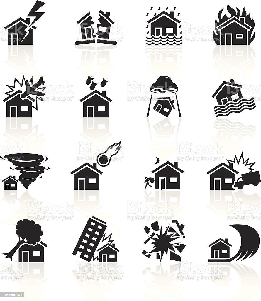 Black Symbols - House Catastrophe vector art illustration