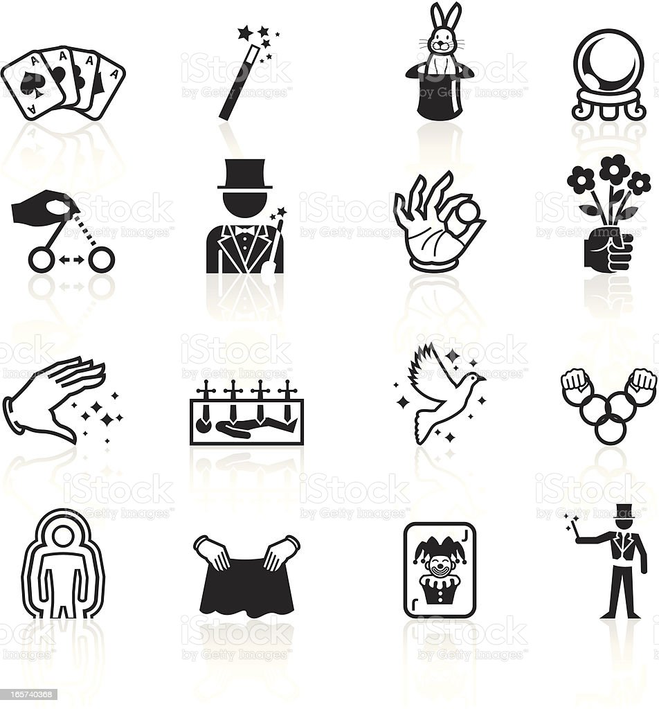 Black Symbols - Illusionism and Magic royalty-free black symbols illusionism and magic stock vector art & more images of arts culture and entertainment