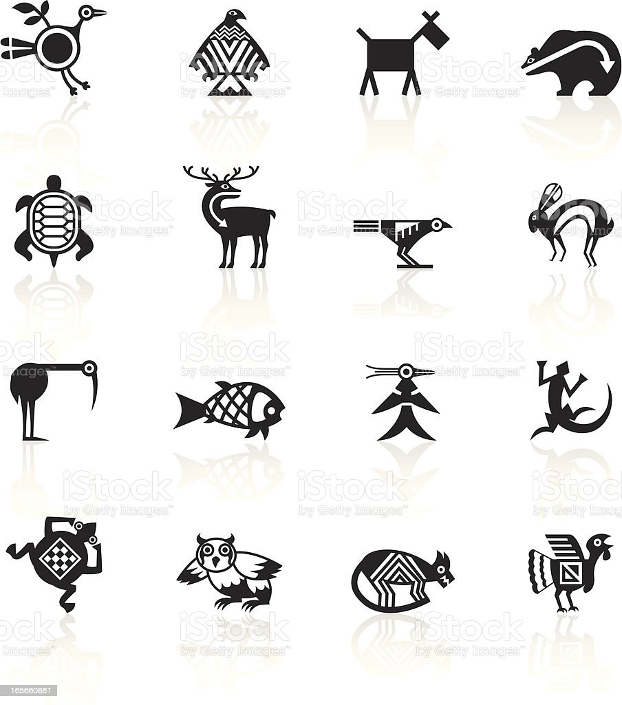 Black Symbols - Indian Tribal Animals vector art illustration