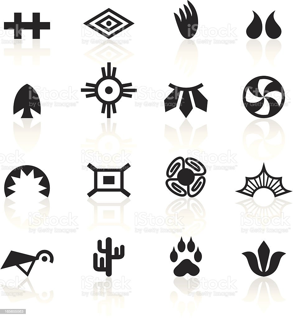 Black Symbols - Indian Tribal vector art illustration
