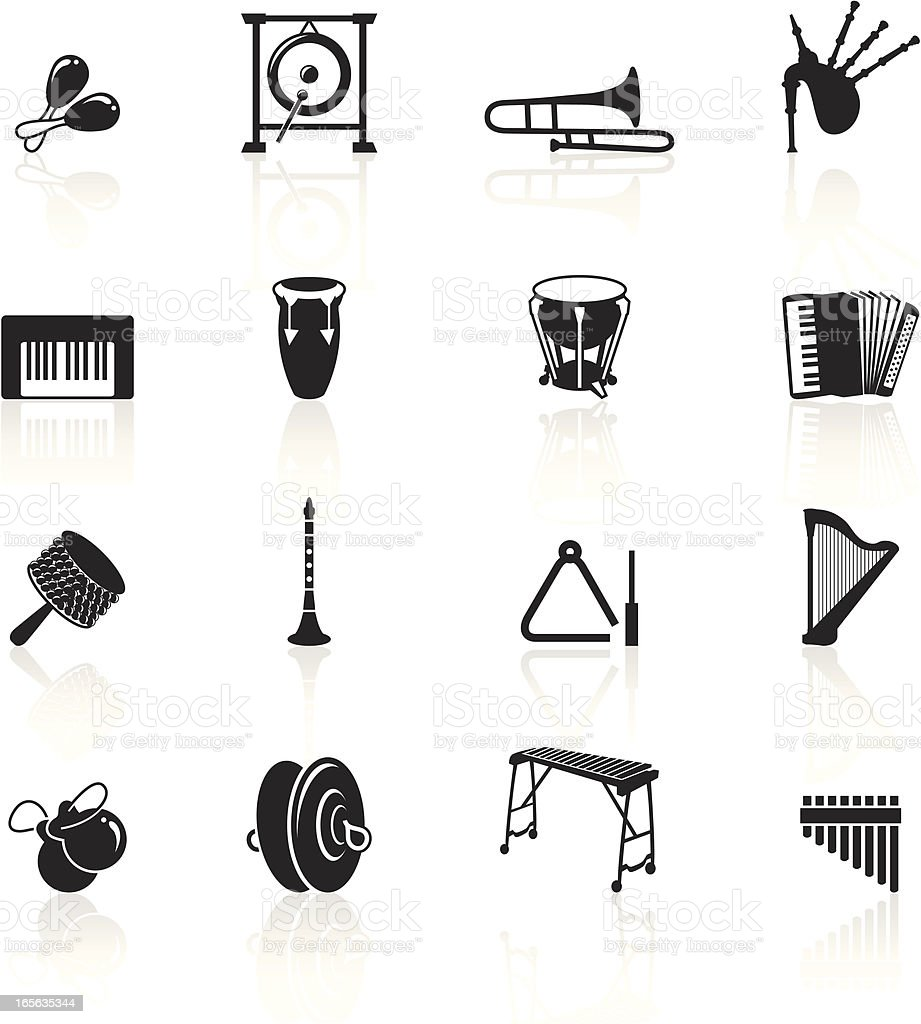 Black Symbols - Musical Instruments vector art illustration