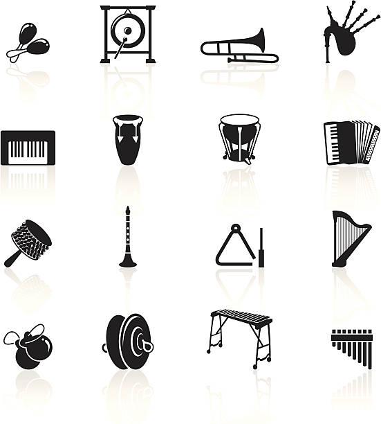 stockillustraties, clipart, cartoons en iconen met black symbols - musical instruments - castagnetten
