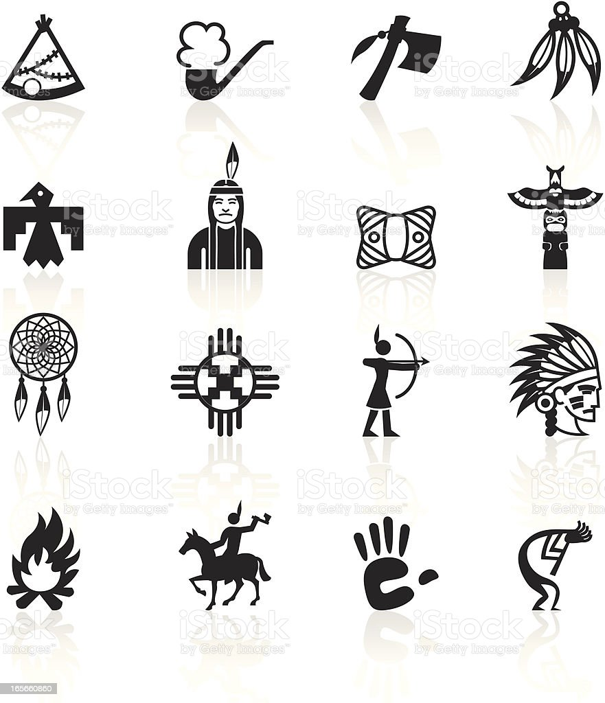 Black Symbols - Native American vector art illustration