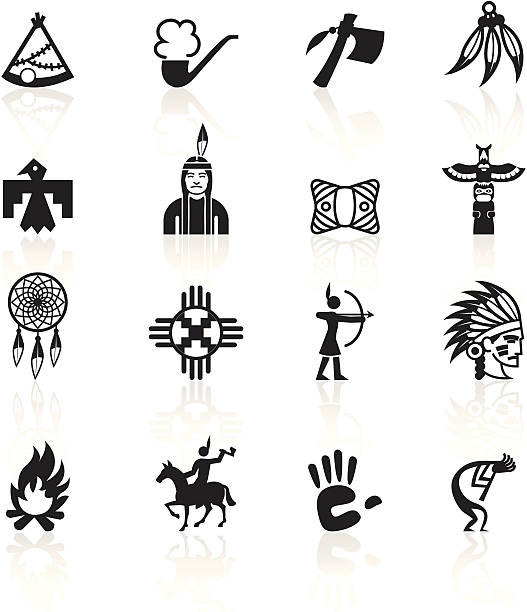 Black Symbols - Native American Native American icons. teepee stock illustrations