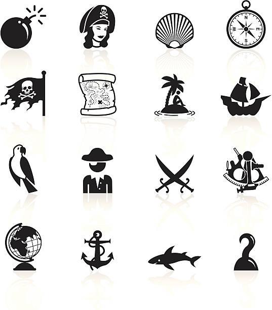 ilustrações de stock, clip art, desenhos animados e ícones de preto símbolos-pirates - sextante
