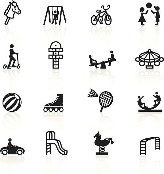 Noir symboles-terrain de jeu - Illustration vectorielle