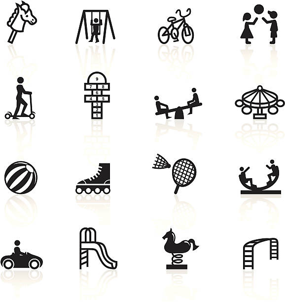 black symbols - playground - recess stock illustrations, clip art, cartoons, & icons
