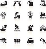 Illustration of different pollution related symbols.