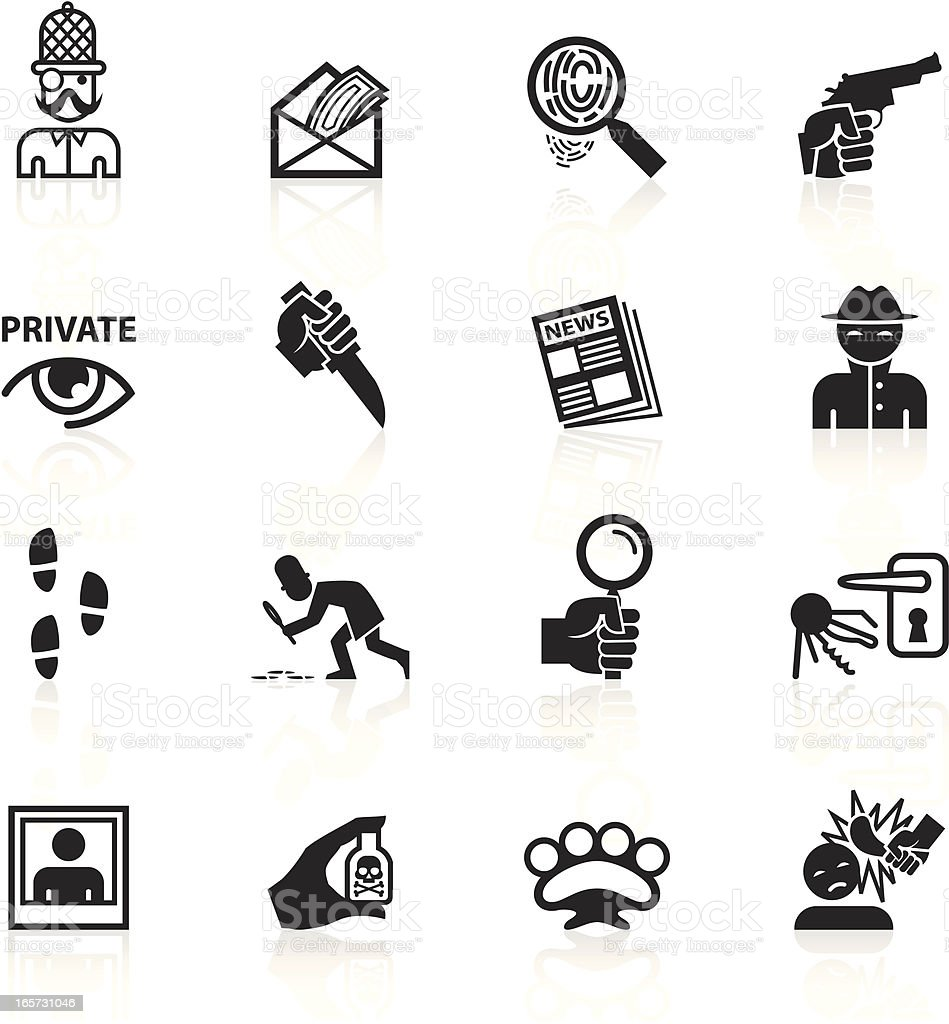 Black Symbols - Private Eye & Detective royalty-free stock vector art