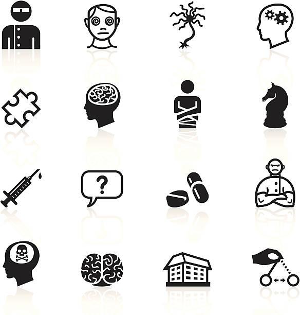 Black Symbols - Psychology & Psychiatry vector art illustration