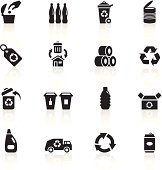 Illustration of different recycling symbols.