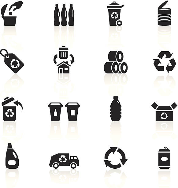Black Symbols - Recycle Illustration of different recycling symbols. bottle bank stock illustrations