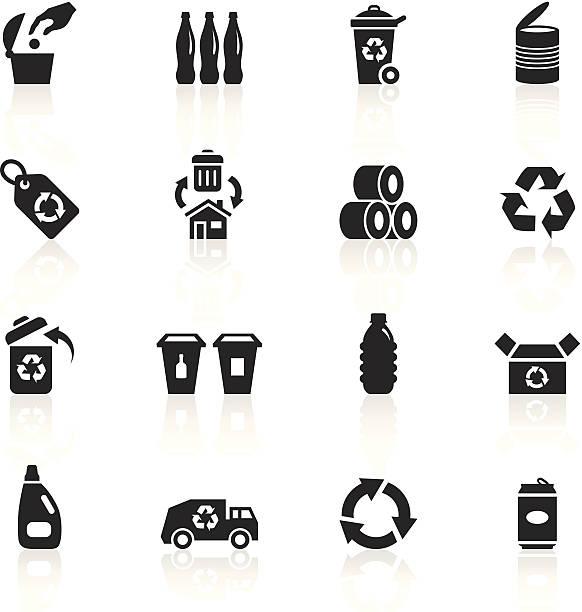schwarze symbole-recycling - altglas stock-grafiken, -clipart, -cartoons und -symbole