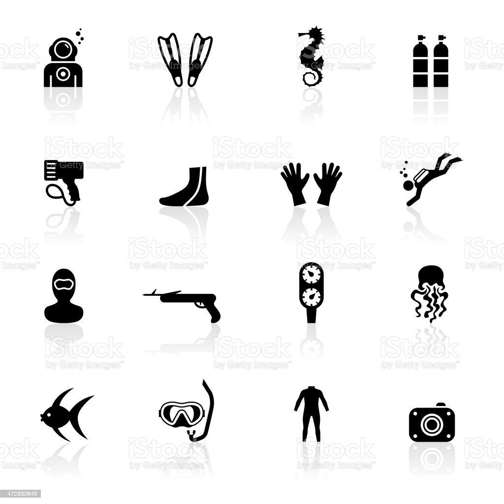 Black Symbols - Scuba Diving vector art illustration