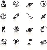 Black icons representing different space related symbols.
