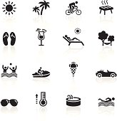 Illustration representing different summertime related icons.