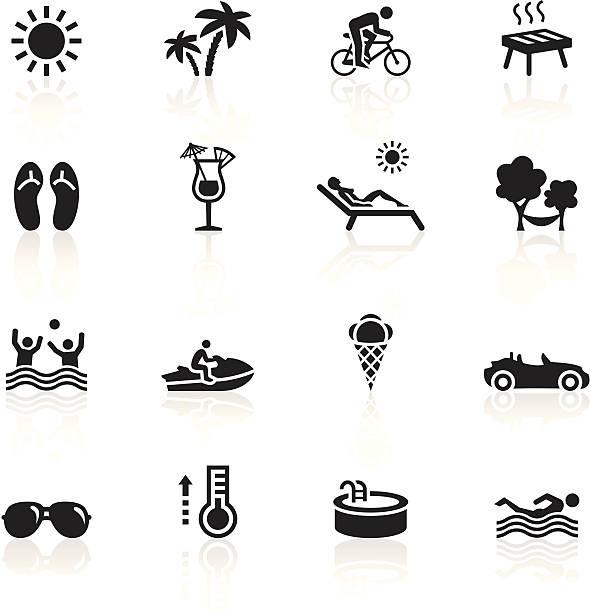 czarny symbole-letni - jumping stock illustrations