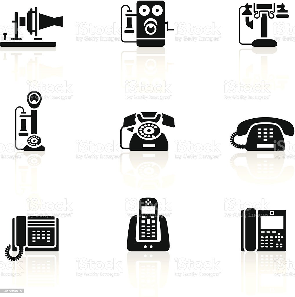 Black Symbols - Telephone Evolution vector art illustration