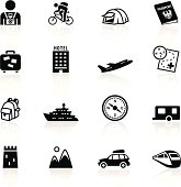 Illustration of different tourism related symbols.