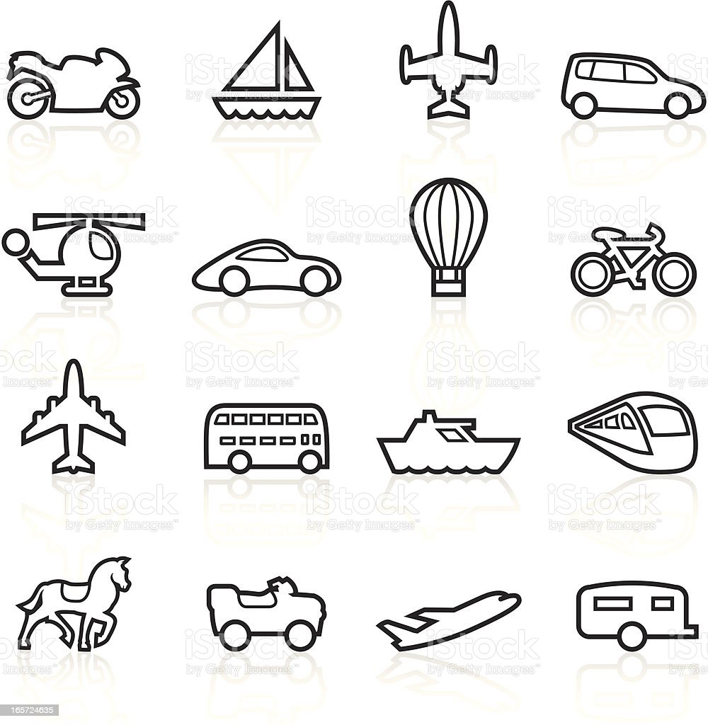 Black Symbols - Transportation Outlines royalty-free stock vector art