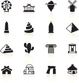 Travel destinations & monuments related icons.