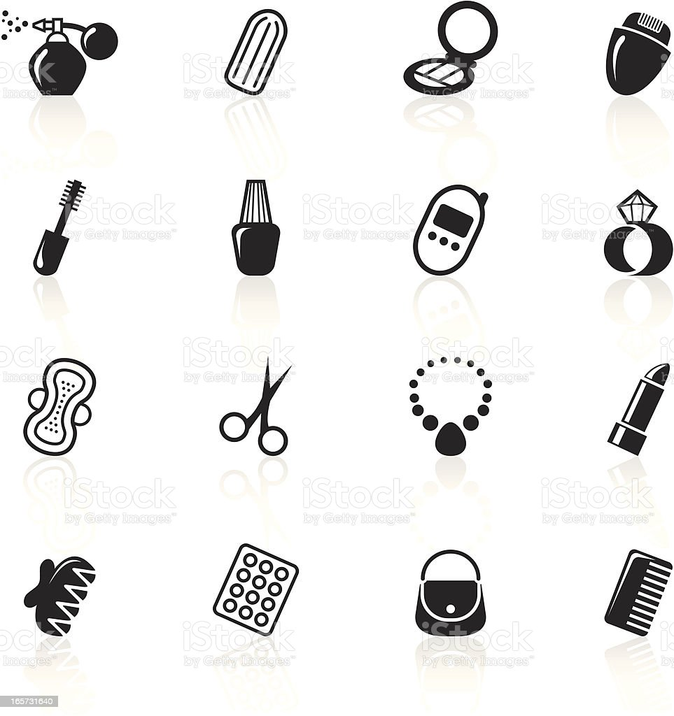 Black Symbols - Woman's Accessories vector art illustration