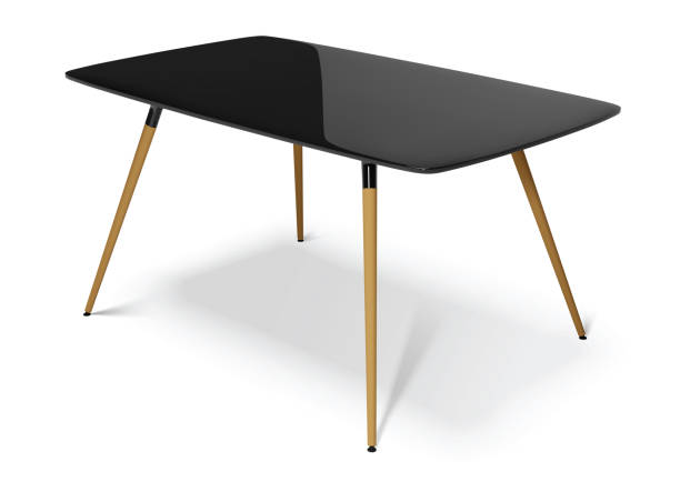 black table with wooden legs, vector illustration black table with wooden legs isolated on white background, vector illustration lacquered stock illustrations