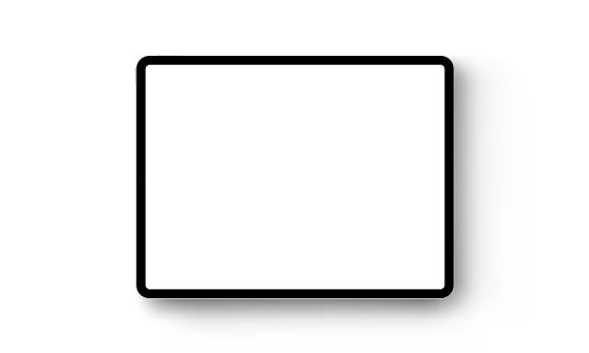 Black tablet computer horizontal mock up - front view