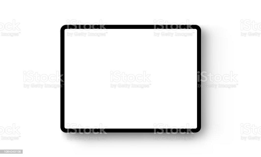 Black tablet computer horizontal mock up - front view vector art illustration
