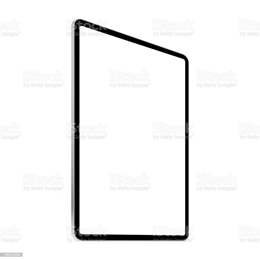 Black tablet computer mock up - left perspective view vector art illustration