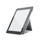 Black tablet computer pc on white background