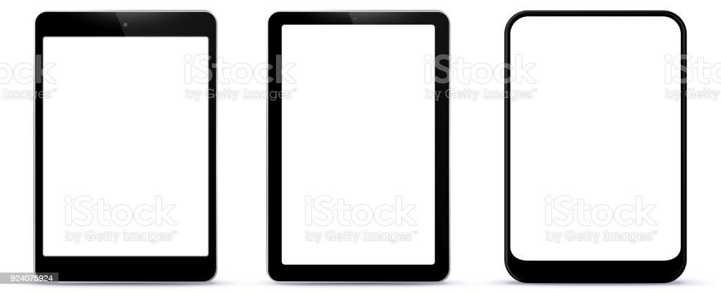 Black Tablet Computers Vector Illustration