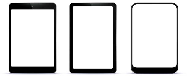 schwarze tablet-computer-vektor-illustration - tablet pc stock-grafiken, -clipart, -cartoons und -symbole