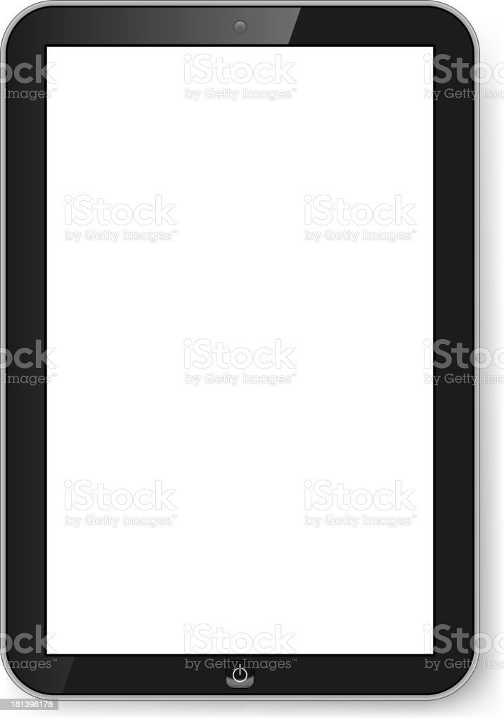 Black tablet with blank screen on white background