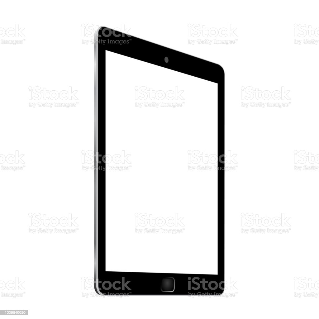Black tablet with white display in turn, view from the side - for stock Black tablet with white display in turn, view from the side - for stock Black Color stock vector