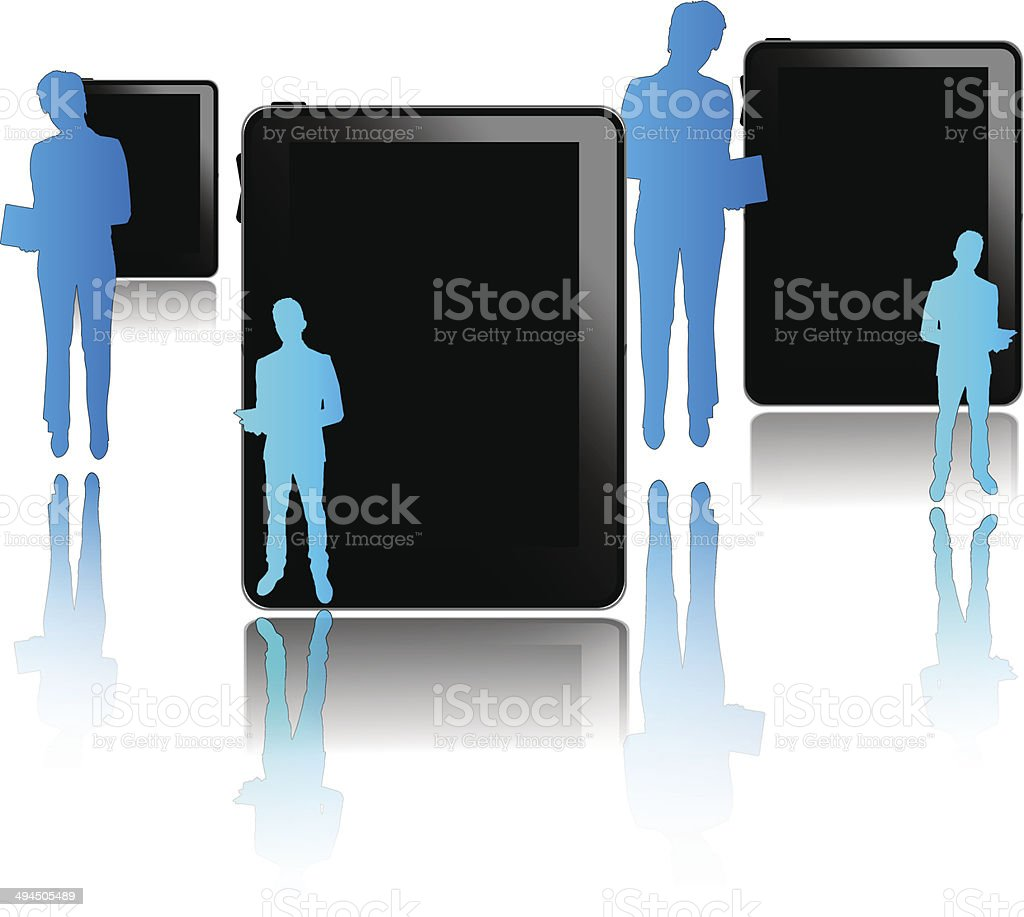 Black tablets with blue businessmen isolated on white background vector art illustration