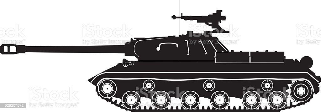 black tank IS-3 vector art illustration
