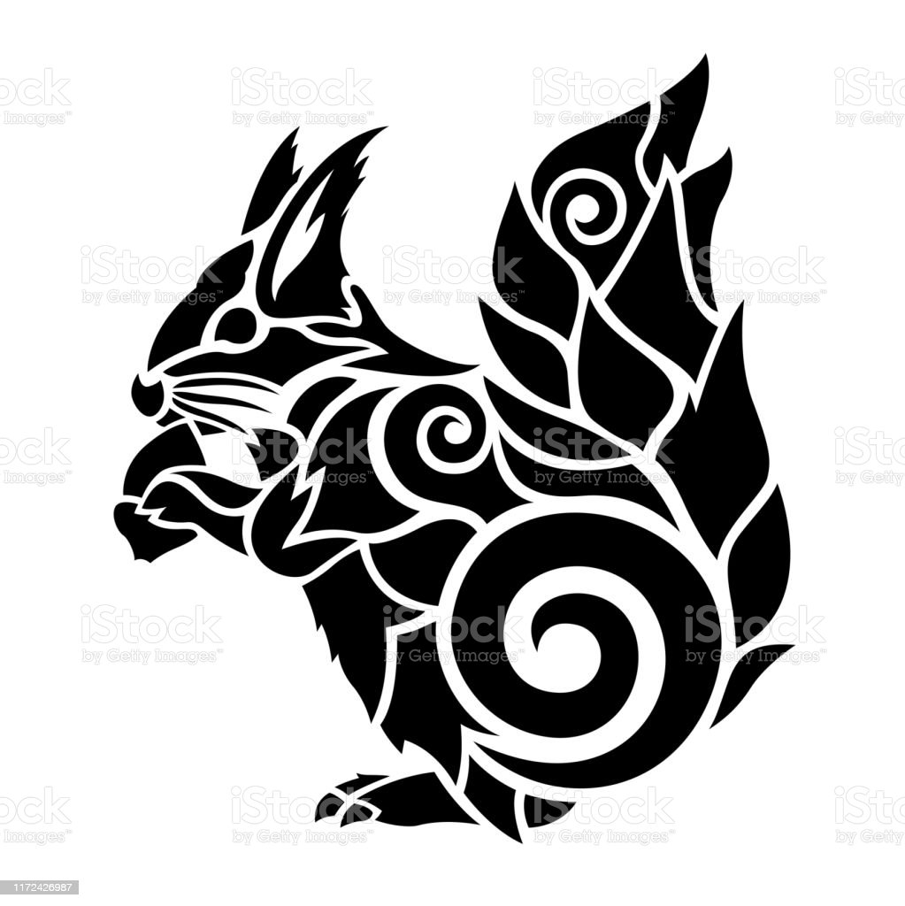 Black Tattoo Art With Squirrel And Acorn Stock Illustration Download Image Now Istock