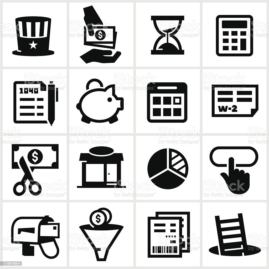 Black Tax Icons vector art illustration