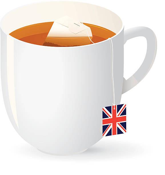 ブラックにホワイトティーカップ - イギリスの国旗点のイラスト素材/クリップアート素材/マンガ素材/アイコン素材