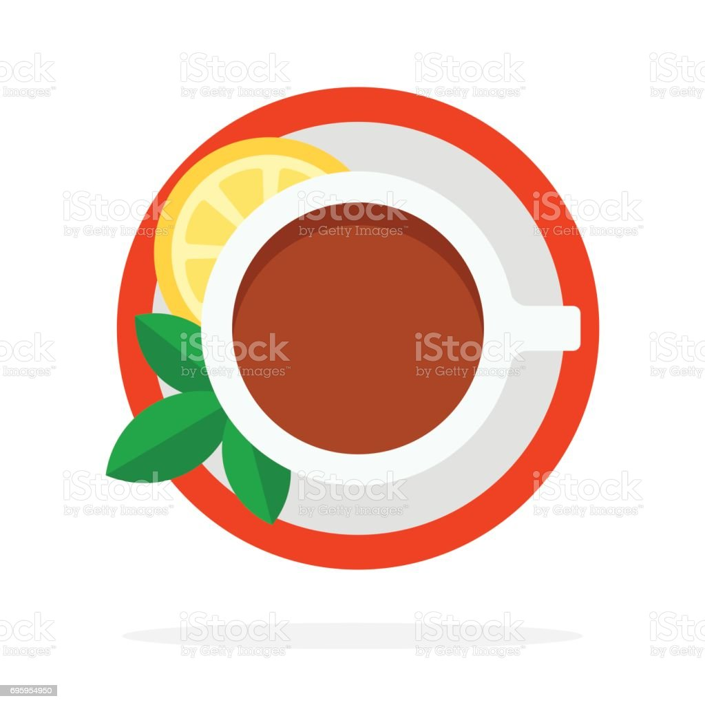 Black Tea with mint and lemon top view vector flat material design isolated object on white background. vector art illustration